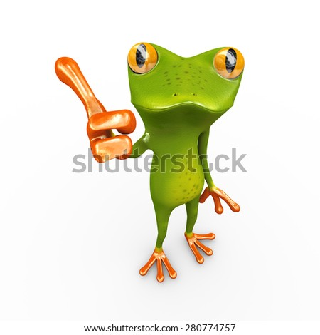 3d illustration of frog gesture posing and showing thumbs up - stock photo