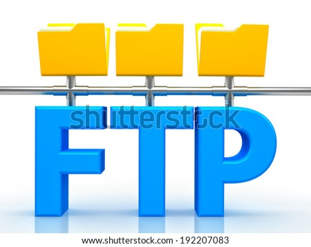 3d illustration of FTP ( File transfer Protocol ) letter over white background - stock photo