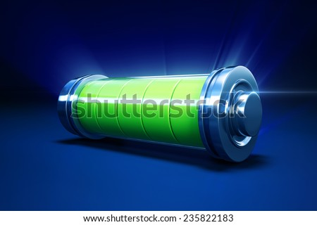 3d illustration of full alkaline battery - stock photo