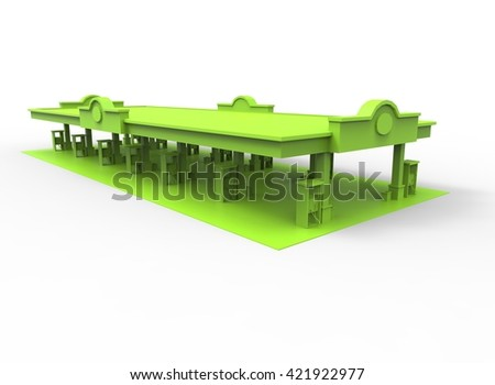 3d illustration of gas station. simple to use. on white background isolated with shadow. icon for game or web. eco building. expensive purchase. green colors. - stock photo