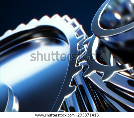 3d illustration of gear metal wheels close-up - stock photo