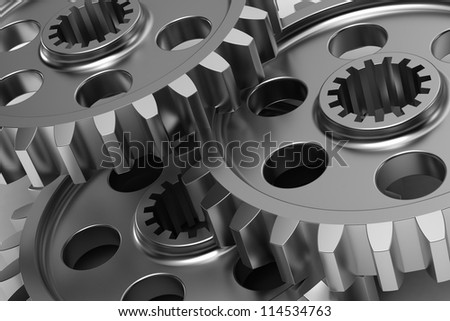 3d illustration of gear wheels. gear wheels abstract background - stock photo