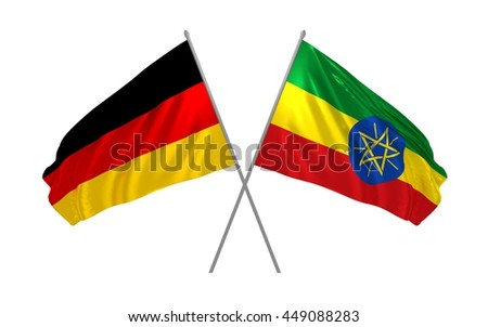 3d illustration of Germany and Ethiopia flags together waving in the wind - stock photo