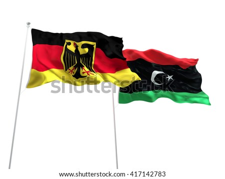 3D illustration of Germany & Libya Flags are waving on the isolated white background - stock photo