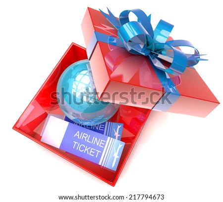 3d illustration of gift box with planet earth inside and airplane tickets, concept for travel, tourism and holiday present. - stock photo