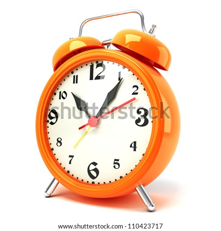 3d illustration of glossy alarm clock against white background - stock photo