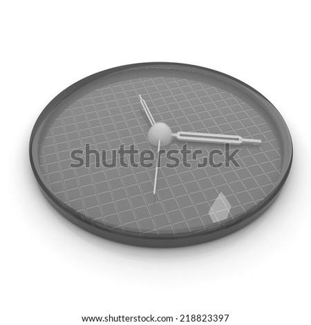 3d illustration of glossy alarm clock against white background  - stock photo