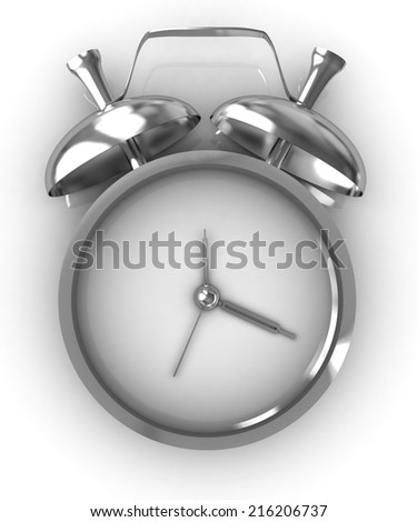 3D illustration of gold alarm clock icon on a white background - stock photo