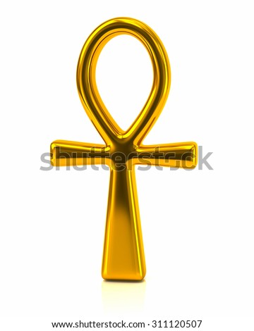 3d illustration of golden Ankh symbol, Egyptian Cross - stock photo
