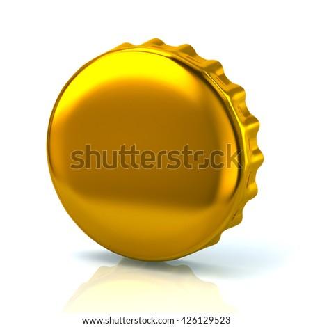 3d illustration of golden bottle cap isolated on white background - stock photo