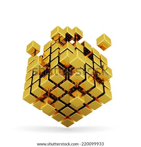 3d illustration of golden box shape concept. Business concept - stock photo