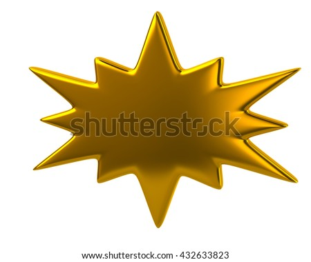 3d illustration of golden bursting icon isolated on white background - stock photo