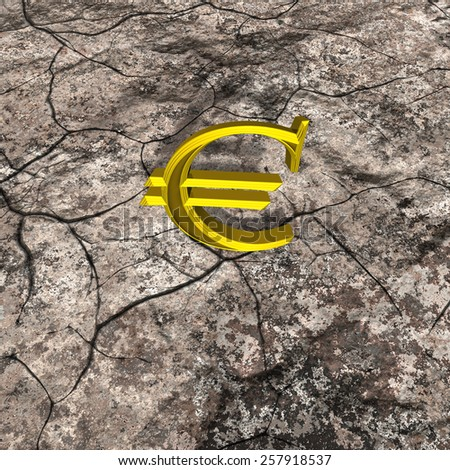 3d illustration of golden euro sign on rock with crack - stock photo