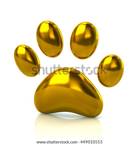 3d illustration of golden paw print icon isolated on white background - stock photo