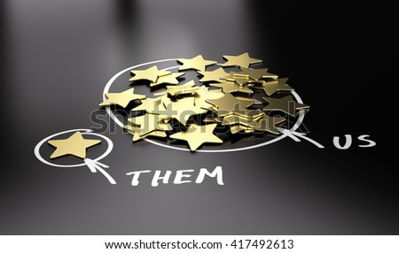 3D illustration of golden stars over black background to be used for comparison between your company and our competitors. - stock photo