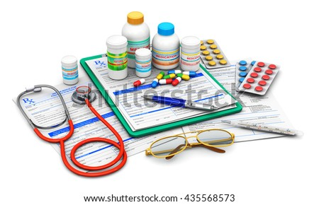 3D illustration of green clipboard pad with blue prescription medicine drug claim form, ballpoint pen, eyeglasses, stethoscope and group of bottles with drug pills, heap of tablets and other supplies - stock photo