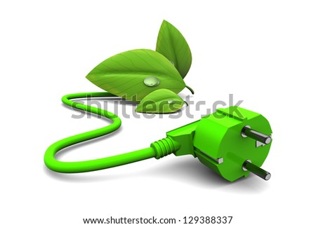 3d illustration of green energy concept, over white background - stock photo