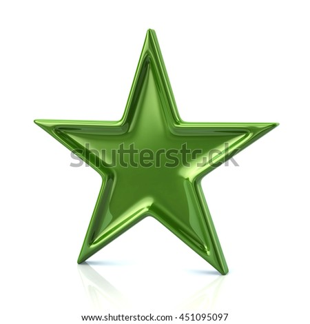 3d illustration of green five-pointed star isolated on white background - stock photo