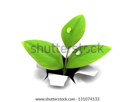3d illustration of green plant growing through paper or white background - stock photo