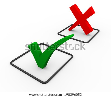 3d illustration of green right tick check mark and red negative cross sign. - stock photo
