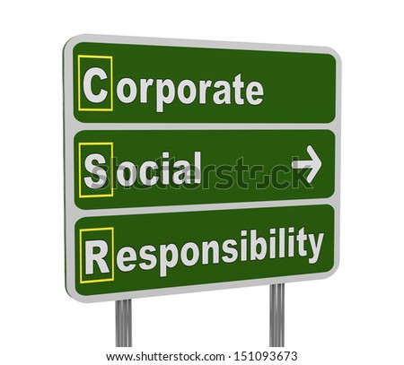 3d illustration of green roadsign of acronym csr - corporate social responsibility - stock photo