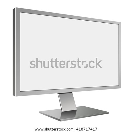 3D illustration of Grey LED Computer Mornitor in Perspective view with blank screen on white background - stock photo
