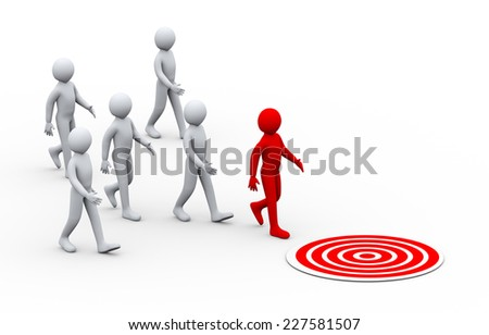 3d illustration of group of people following their unique leader moving to their target to achieve goal.  3d rendering of human people character. - stock photo