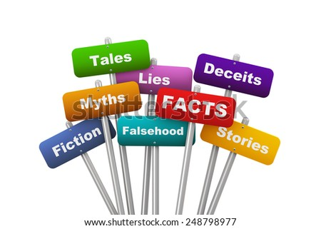 3d illustration of group of placard presenting concept of facts - stock photo