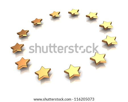3d illustration of group of stars on a white background - stock photo