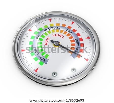 3d illustration of guage meter of risk level concept - stock photo