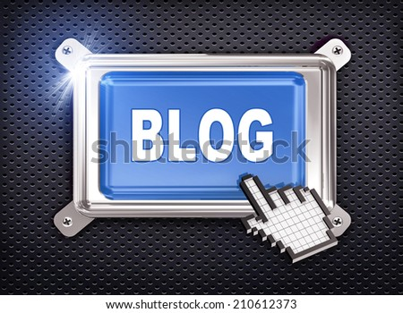 3d illustration of hand cursor pointer and chrome button presentation of concept of blog - stock photo
