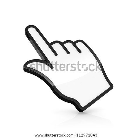3D illustration of hand pointer isolated on white - stock photo