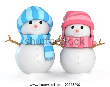 3D Illustration of Happy Male and Female Snowmen - stock photo