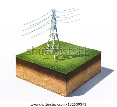 3d illustration of high voltage electric tower standing on cross section of ground with grass isolated on white - stock photo