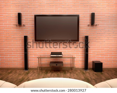 3d illustration of home Theater interior - stock photo