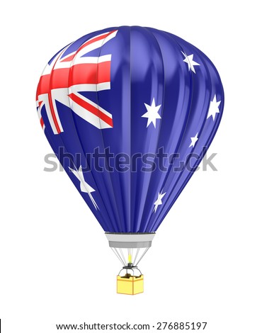 3d illustration of hot air balloon with australia flag colors - stock photo