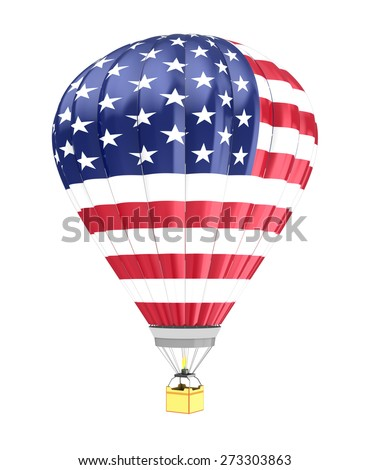 3d illustration of hot air balloon with USA flag colors - stock photo