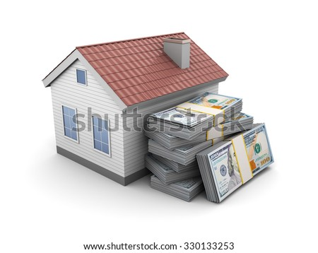 3d illustration of house and money stack - stock photo