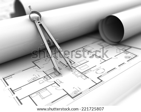 3d illustration of house blueprints and drawing compass - stock photo