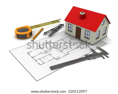 3d illustration of house blueprints and model, over white background - stock photo