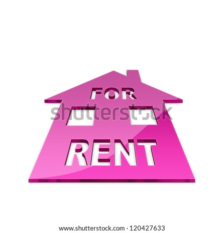 3d illustration of house for rent sign - stock photo