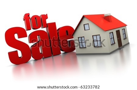 3d illustration of house for sale sign, over white background - stock photo