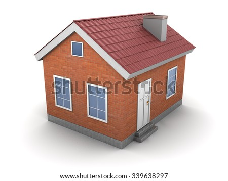 3d illustration of house over white background - stock photo