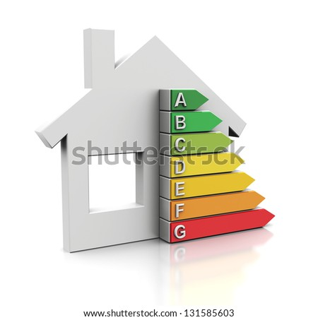 3d illustration of house with energy efficiency symbol - stock photo