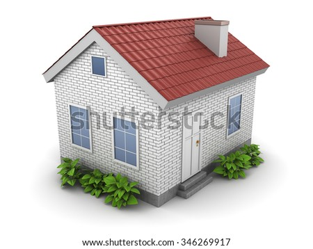 3d illustration of house with green plants - stock photo