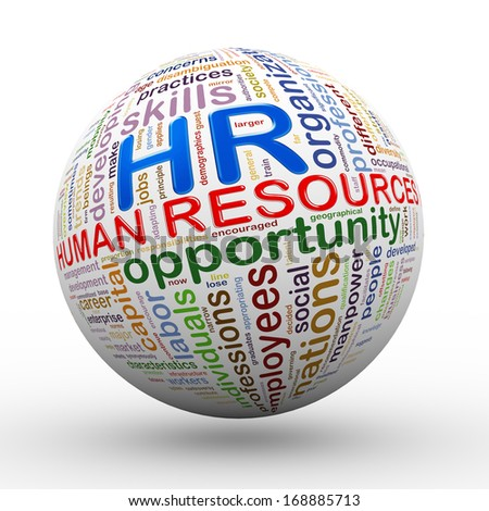 3d illustration of hr human resources word tags wordcloud ball - stock photo