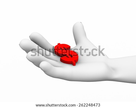 3d illustration of human hand holding dollar symbol sign. - stock photo
