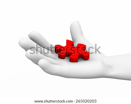 3d illustration of human hand holding missing red small puzzle piece - stock photo