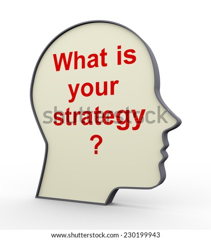 3d illustration of human head with question - what is your strategy  - stock photo