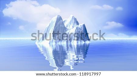 3d illustration of Iceberg in the ocean - stock photo